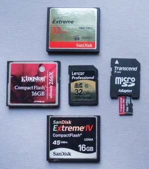 CF, SD, and micro SD memory cards